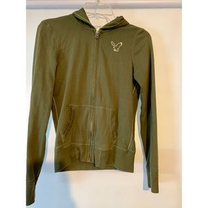 American Eagle olive zip-up